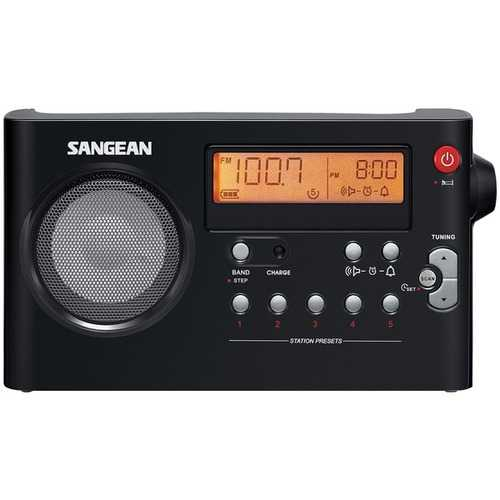 Sangean Am And Fm Digital Rechargeable Compact Portable Clock Radio (pack of 1 Ea)