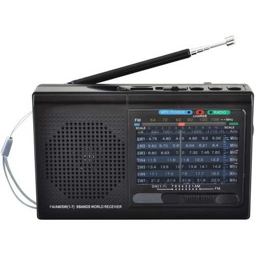 Supersonic 9-band Rechargeable Bluetooth Radio With Usb And Sd Card Input (black) (pack of 1 Ea)