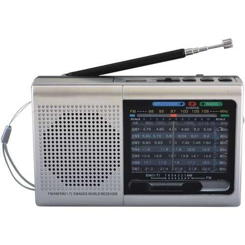Supersonic 9-band Rechargeable Bluetooth Radio With Usb And Sd Card Input (silver) (pack of 1 Ea)