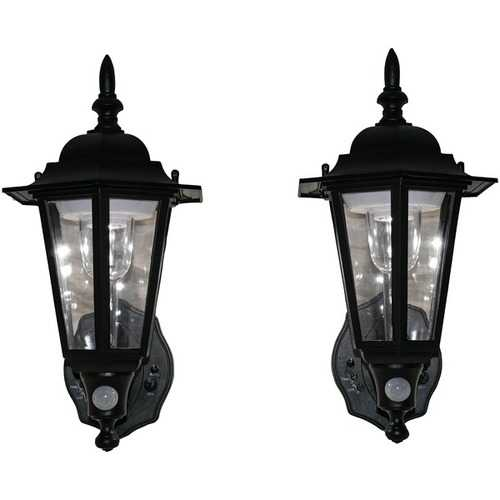 Maxsa Innovations Battery-powered Motion-activated Plastic Led Wall Sconce, 2-pack (black) (pack of 1 Ea)