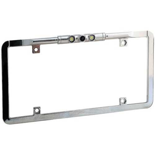 Boyo Vision Ultra-slim Full-frame License-plate Camera With Led Lights And Trajectory Parking Lines (chrome) (pack of 1 Ea)