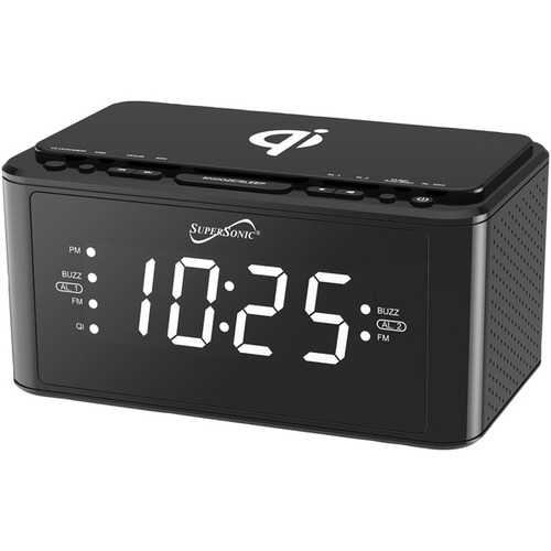 Supersonic Clock Radio With Qi Wireless Charging Station (black) (pack of 1 Ea)