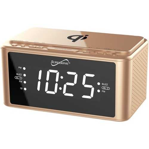 Supersonic Clock Radio With Qi Wireless Charging Station (gold) (pack of 1 Ea)