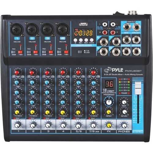 Pyle 8-channel Bluetooth Studio Mixer (pack of 1 Ea)