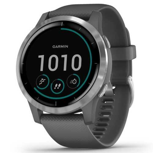 Garmin Vivoactive 4 Gps Smartwatch (silver Stainless Steel Bezel With Shadow Gray Case And Silicone Band) (pack of 1 Ea)