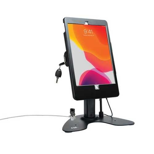 Cta Digital Dual Security Kiosk Stand With Locking Case And Cable For 10.2-inch Ipad (black) (pack of 1 Ea)