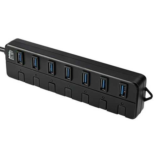 Adesso 7-port Usb 3.0 Hub With Individual Power Switches And Power Adapter (pack of 1 Ea)