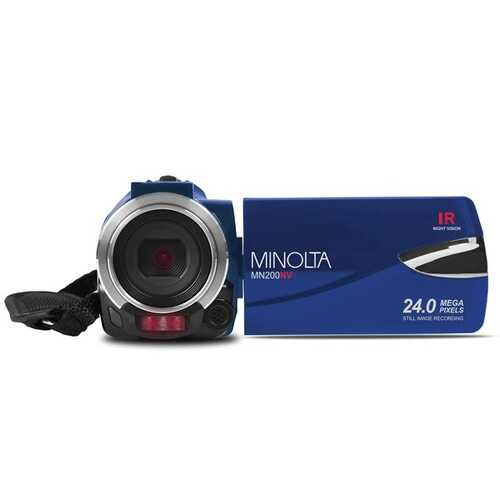 Minolta Mn200nv 1080p Full Hd Ir Night Vision Wi-fi Camcorder (blue) (pack of 1 Ea)