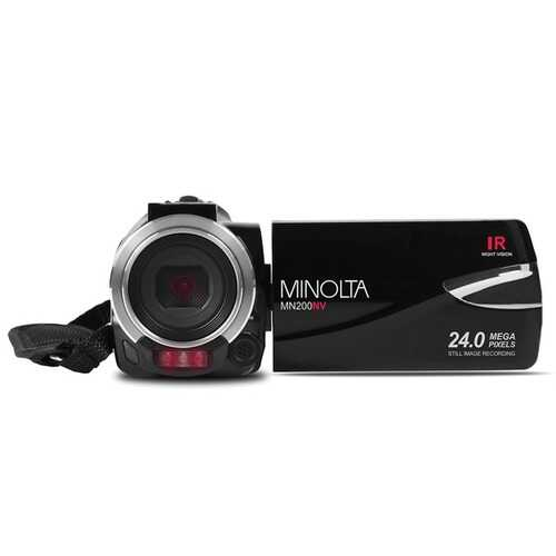 Minolta Mn200nv 1080p Full Hd Ir Night Vision Wi-fi Camcorder (black) (pack of 1 Ea)