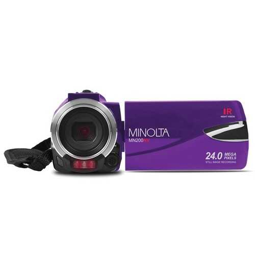Minolta Mn200nv 1080p Full Hd Ir Night Vision Wi-fi Camcorder (purple) (pack of 1 Ea)