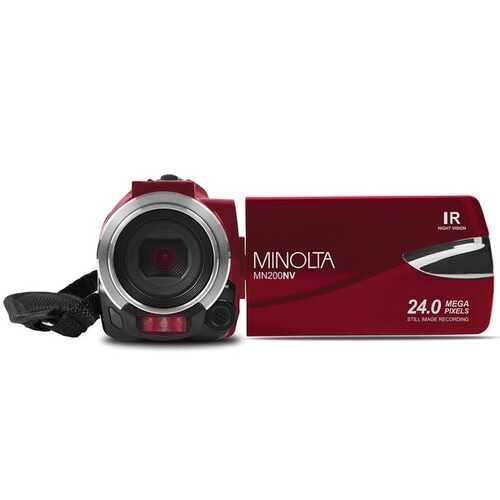 Minolta Mn200nv 1080p Full Hd Ir Night Vision Wi-fi Camcorder (red) (pack of 1 Ea)
