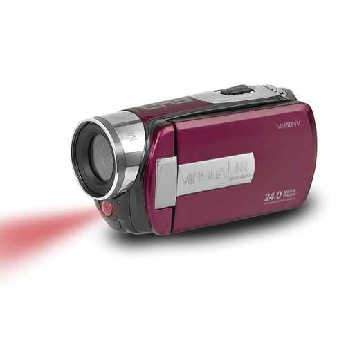 Minolta Mn80nv Full Hd 1080p Ir Night Vision Camcorder (maroon) (pack of 1 Ea)