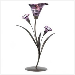 Glass Lily Tealight Candleholder (pack of 1 EA)
