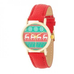 Gold Holiday Watch With Red Leather Strap (pack of 1 ea)