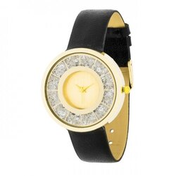 Gold Black Leather Watch With Crystals (pack of 1 ea)