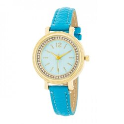 Georgia Gold Crystal Watch With Turquoise Leather Strap (pack of 1 ea)