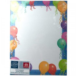 Balloon Border Stationery 25 Sheets (pack of 24)