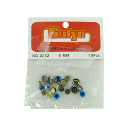 18 Pc 6mm Blue Rhinestones With Mounts (pack of 24)