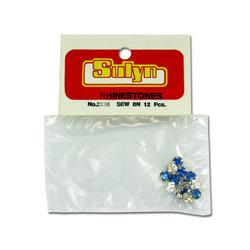 12 Pc Sapphire Sew-on Rhinestones (pack of 24)