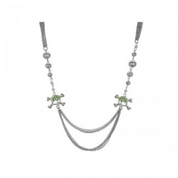 Bright Green Crystal Skull And Crossbones Multi Strand Necklace (pack of 4)