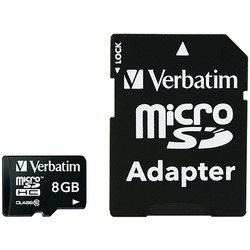 Verbatim Microsdhc Card With Adapter (8gb; Class 10) (pack of 1 Ea)