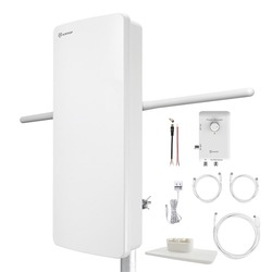 Antop Antenna Inc. At-800sbs Hd Smart Panel Amplified Hdtv And Fm Amplified Indoor And Outdoor Antenna (pack of 1 Ea)