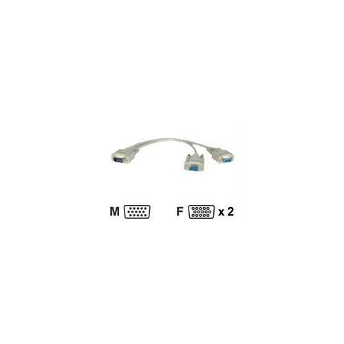 1-FT. VGA/XVGA MONITOR Y SPLITTER CABLE (HD15M / 2XHD15F)