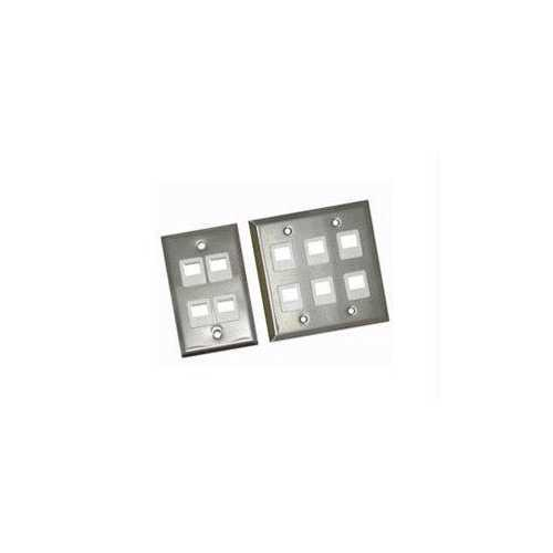 Legrand 6-port Double Gang Multimedia Keystone Wall Plate - Stainless Steel