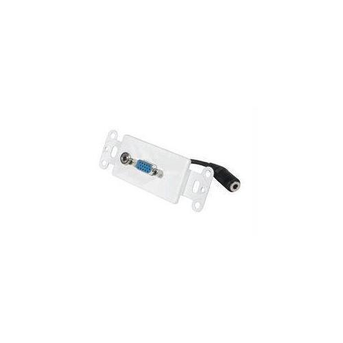 DECORATIVE HD15 VGA + 3.5MM WALL PLATE INSERT - WHITE