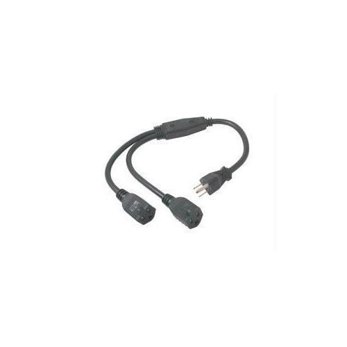 C2g 18in 16 Awg 1-to-2 Power Cord Splitter (1 Nema 5-15p To 2 Nema 5-15r) (taa Compl