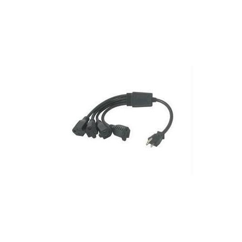 C2g 18in 16 Awg 1-to-4 Power Cord Splitter (1 Nema 5-15p To 4 Nema 5-15r) (taa Compl