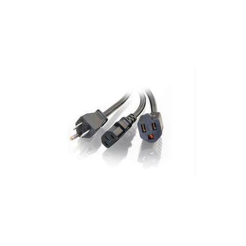 C2g 1.5ft 16 Awg 1-to-2 Power Cord Splitter (nema 5-15p To 1 Nema 5-15 +1 Iec320c13)
