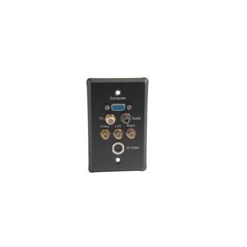 C2g Single Gang Hd15 Vga + F-type + 3.5mm + S-video + Rca Audio/video Wall Plate - B