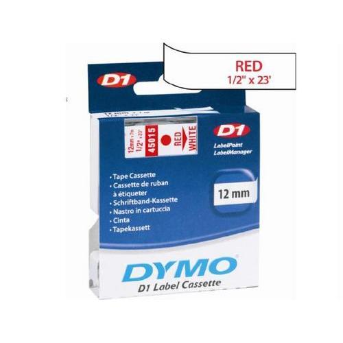 Dymo Red Print/ White Tape, 1/2 X 23