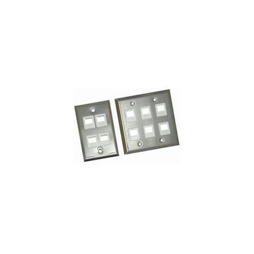 Legrand 8-port Double Gang Multimedia Keystone Wall Plate - Stainless Steel