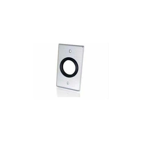 1.5IN GROMMET CABLE PASS THROUGH SINGLE GANG WALL PLATE - BRUSHED ALUMINUM