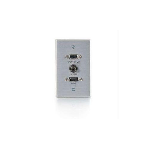 HDMI, VGA AND 3.5MM AUDIO PASS THROUGH SINGLE GANG WALL PLATE - BRUSHED ALUMINUM
