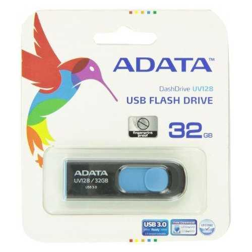 A-data Technology (usa) Co., L Dashdrive Uv128 32gb Usb 3.0 Black/blue