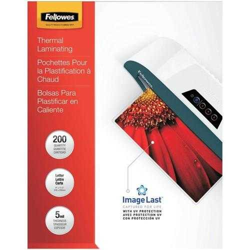 Fellowes, Inc. Glossy Pouches-imagelast, Letter, 5mil, 200 Pack