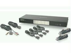 4 PORT DUAL VIEW DUAL LINK DVI KVM SWITCH WITH AUDIO, USB 2.0 HUB AND CABLES