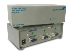 SPLIT A SINGLE, HIGH-RESOLUTION VGA VIDEO SIGNAL WITH AUDIO TO 2 MONITORS OR PRO