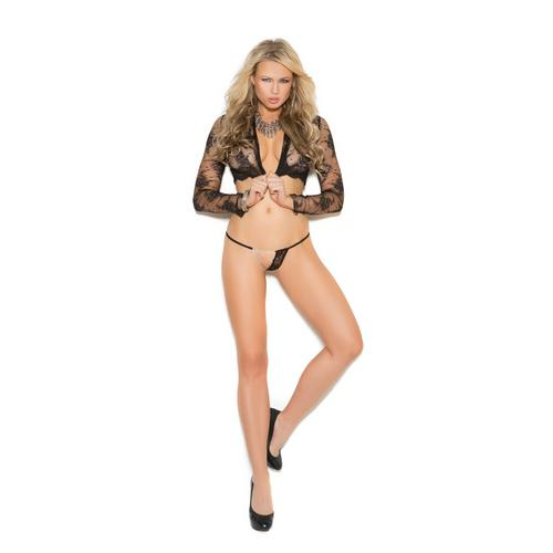 BLACK LACE G-STRING W/CHAINS