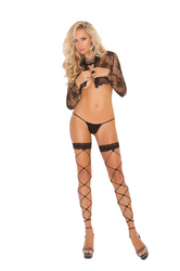 FOOTLESS NET THIGH HI W/ LACE