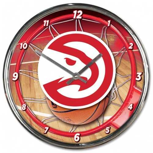 Atlanta Hawks Clock Round Wall Style Chrome Special Order