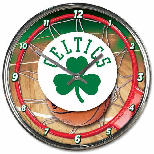 Boston Celtics Clock Round Wall Style Chrome