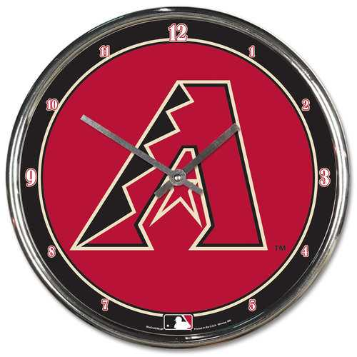 Arizona Diamondbacks Clock Round Wall Style Chrome Special Order
