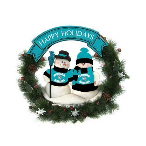 "Florida Marlins 20"" Team Snowman Wreath"