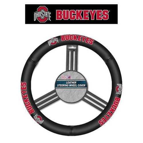 Ohio State Buckeyes Steering Wheel Cover - Leather - New Logo
