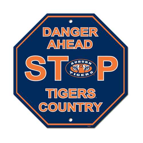Auburn Tigers Sign 12x12 Plastic Stop Style Special Order