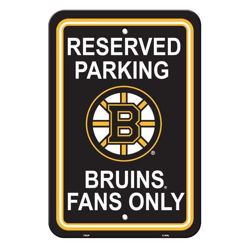 Boston Bruins Sign - Plastic - Reserved Parking - 12 in x 18 in Special Order